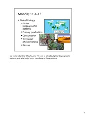 Biology 142 - Biomes with notes