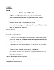 FINC 2401 Notes on Raising Long-Term Financing