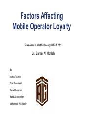 Factors Affecting Mobile Operator Loyalty