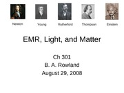 EMR, Light, and Matter