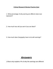Critical Research Review Practice Quiz