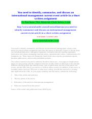 You need to identify, summarize, and discuss an international management current event article in a