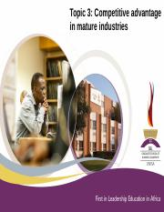 Topic 3 Mature industries