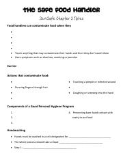 The Safe Food Handler Chapter 3 notes