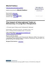 Lopez-Cordova and Meissner - 2008 - The Impact of International Trade on Democracy_ A Long-Run Persp