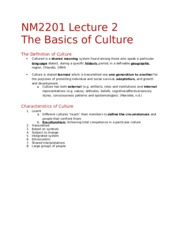 NM2201 Lecture 2 - The Basics of Culture
