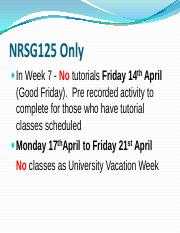 NRSG125  Weeks 7 and 8 Attendance Information