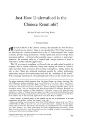 Funke e Rahn - Just How Undervalued is the Chinese Renminbi