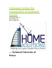 Literature review for construction of proposed hostels