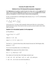 ECON 3710 Winter 2014 Assignment 1 Solutions