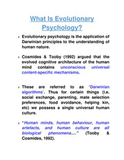 What Is Evolutionary Psychology