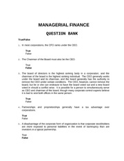 Managerial Finance Question Bank