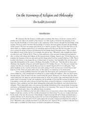 Averroës On the Harmony of Religion and Philosophy_0_0