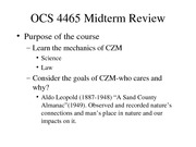 CZM Midterm Review