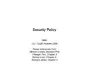 CS283 - Lecture 5 - Part 1 - Security Policy - 20091006