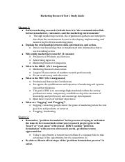 Marketing Research Test 1 Study Guide