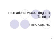 International Accounting and Taxation