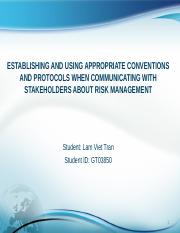 Establishing and using appropriate conventions and protocols when communicating with stakeholders ab