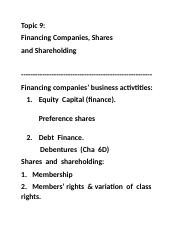Topic 9=Financing%Shares