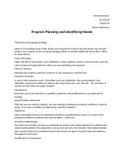 Program Planning and Identifying Needs