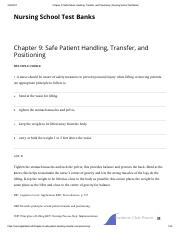 Chapter 9_ Safe Patient Handling, Transfer, and Positioning _ Nursing School Test Banks