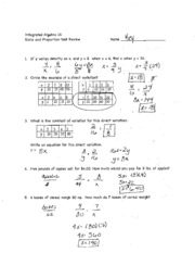 Ratio and Proportion Test Review