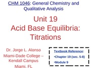 Unit 19 Acid Base Equilibria. Titrations