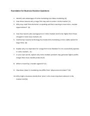 Foundation for Business Revision Questions- Niche and Mass market.pdf