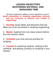 Lesson Objectives Mastering Material and Managing Time