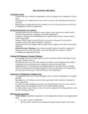 HR CHAPTER 4 READING NOTES