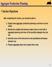 Aggregate Production Planning - Lecture Notes