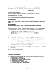 Worksheets Dna And Rna Worksheet answer to bio311c ws10 recombinant dna fall2008 bb bio 311c 4 pages worksheet 8 same as new 9 and 10 rna