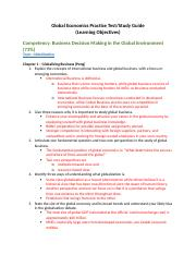 C211 Global Economics Learning Objectives