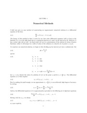 Lecture 4 Numerical Methods