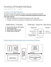 Parallel Interface - Functions of Parallel Interfaces