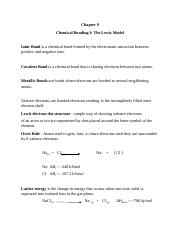 Chapter 9 Chemical Bonding I The Lewis Model