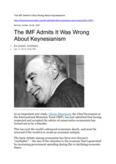 The IMF Admits It Was Wrong About Keynesianism Jan 2013