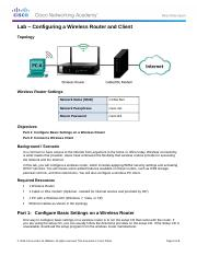 4.4.2.3 Lab - Configuring a Wireless Router and Client.docx