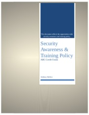 Unit 5 Lab 5 Security Awareness & Training Policy