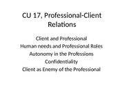 CU 17, Professional-Client Relations
