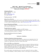 BISC 320L 2012 Lab Syllabus and Schedule Draft