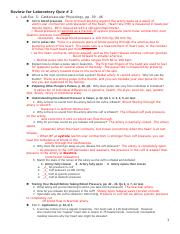 BMCC  Bio 426 LB  fall 2014 Review for Laboratory Quiz 2.doc