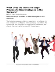 Done - HR What Does the Induction Stage Provides to New Employees in the Company