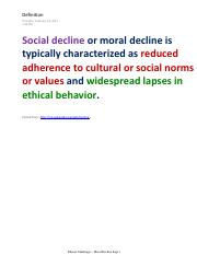 Ethical Challenges - Moral Decline