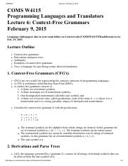 Lecture 6 Context-Free Grammars