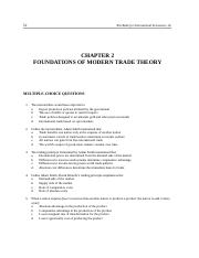 Chapter 2 FOUNDATIONS OF MODERN TRADE THEORY