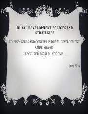 Presentation on Issues in Rural Development