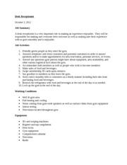 hr receptionist task statements