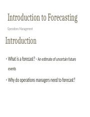 Introduction to Forecasting Lecture