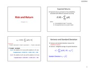 Risk and Return Notes